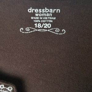 Dress Barn Tops - Dressbarn | Embroidered Brown and White Top